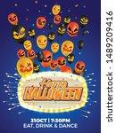 happy halloween theme poster ...   Shutterstock .eps vector #1489209416