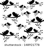 Vector Bird Silhouettes Sittin...
