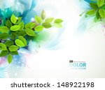 banner with fresh green leaves  | Shutterstock .eps vector #148922198