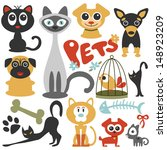 Stock vector set of cute little pets cats and dogs 148923209