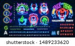 halloween neon sign vector.... | Shutterstock .eps vector #1489233620