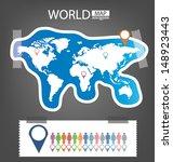 sticker. infographic. world map ... | Shutterstock .eps vector #148923443