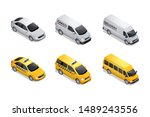 isometric car icons isolated on ... | Shutterstock .eps vector #1489243556