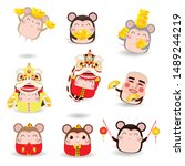 set of cute little cartoon rats ... | Shutterstock .eps vector #1489244219