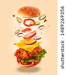 burger with flying ingredients. ...