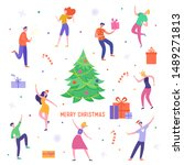 xmas party card or invitation... | Shutterstock .eps vector #1489271813