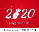 greeting christmas card with... | Shutterstock .eps vector #1489318733