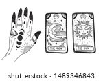 witch's hand with tattoos ... | Shutterstock .eps vector #1489346843