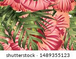green red exotic pattern.... | Shutterstock .eps vector #1489355123