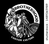 Chopper Skull Biker With Retro...