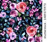 Roses Watercolor Floral Seamle...