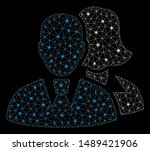glowing mesh people with glare... | Shutterstock .eps vector #1489421906
