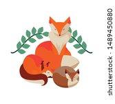 foxes mammal happy autumn...   Shutterstock .eps vector #1489450880