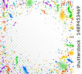 streamers and confetti.... | Shutterstock .eps vector #1489453469