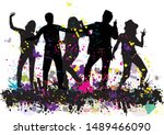 dancing people silhouettes.... | Shutterstock .eps vector #1489466090