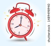 red alarm clock sounds up early ...   Shutterstock .eps vector #1489498940