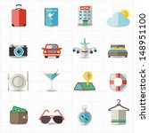 travel and hotel holiday icons | Shutterstock .eps vector #148951100