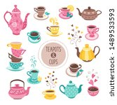 hand drawn teapot and cup... | Shutterstock .eps vector #1489533593