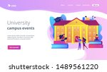 Stock vector students interacting with each other making friends at university college campus tours 1489561220
