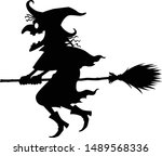 the black witch riding a broom  ... | Shutterstock .eps vector #1489568336