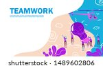 vector illustration team work ... | Shutterstock .eps vector #1489602806