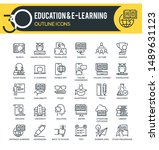 set of outline icons on... | Shutterstock .eps vector #1489631123