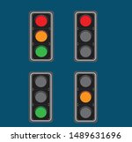 set of traffic lights. flat... | Shutterstock .eps vector #1489631696