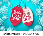 winter sale tags vector banner. ... | Shutterstock .eps vector #1489645739