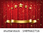 festive red curtain realistic... | Shutterstock .eps vector #1489662716