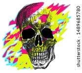 skull art vector skeleton head... | Shutterstock .eps vector #1489685780