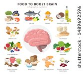 healthy food for brains...   Shutterstock .eps vector #1489692596