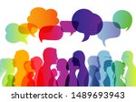 dialogue group of diverse... | Shutterstock . vector #1489693943