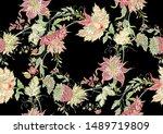 fantasy flowers in retro ... | Shutterstock .eps vector #1489719809