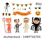 boys in scary monsters costumes ... | Shutterstock .eps vector #1489726703