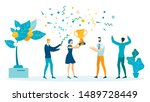 win  victory celebration flat... | Shutterstock .eps vector #1489728449