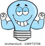 smiling blue light bulb cartoon ... | Shutterstock .eps vector #148973708