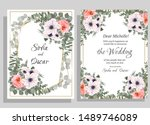 floral template for a wedding... | Shutterstock .eps vector #1489746089