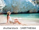 young beautiful woman on the...   Shutterstock . vector #1489748366