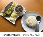 Stock photo shrimp paste sauce serve with fried mackerel vegetable and omelet with climbing wattle nam prik 1489762760