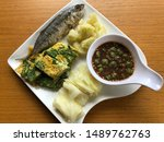 Stock photo shrimp paste sauce serve with fried mackerel vegetable and omelet with climbing wattle nam prik 1489762763