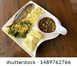 Stock photo shrimp paste sauce serve with fried mackerel vegetable and omelet with climbing wattle nam prik 1489762766