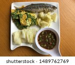 Stock photo shrimp paste sauce serve with fried mackerel vegetable and omelet with climbing wattle nam prik 1489762769