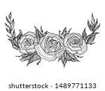 rose flower wreath frame sketch ... | Shutterstock . vector #1489771133
