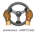 Hands Of Racer On Car Steering...