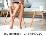 young woman with beautiful legs ... | Shutterstock . vector #1489847210