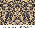 seamless damask gold patterns.... | Shutterstock . vector #1489848626
