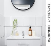 simple white bathroom with... | Shutterstock . vector #1489871066