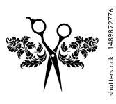 beauty salon logo  barbershop...   Shutterstock . vector #1489872776