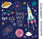 vector space set with spaceship ... | Shutterstock .eps vector #1489879070
