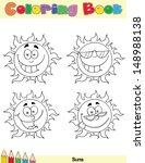Coloring Book Page Sun Cartoon...